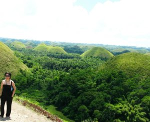 My sister at the viewing deck - Chocoate Hills Bohol
